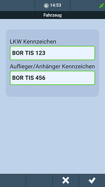 Softwarescreen - Android-App LKW-Abfahrtskontrolle der TIS GmbH