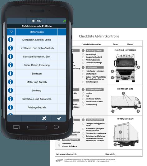 Lkw-Abfahrtskontrolle mit der TIS Android-App